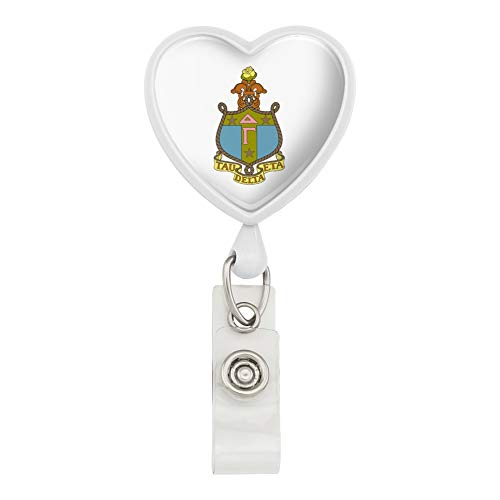 (Delta Gamma Crest Sorority Color Officially Licensed Heart Lanyard Retractable Reel Badge ID Card Holder -)