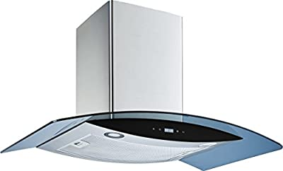 """Winflo 36"""" Wall Mount Stainless Steel/Arched Tempered Glass Convertible Kitchen Range Hood with 450 CFM Air Flow, Touch Control, Aluminum Filter and LED Lights"""