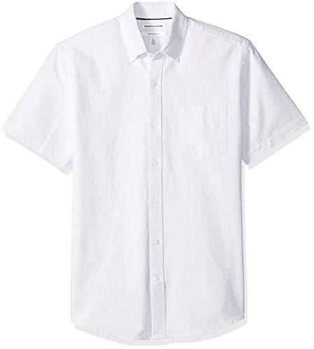 Amazon Essentials Men's Regular-Fit Short-Sleeve Pocket Oxford Shirt, Lavender Stripe, Small