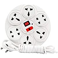 SHOPEE New Extension Board 6 Amp 8 Plug Point with Master Switch Along with LED Indicator, Extension Cord (2.7 Meter) - White