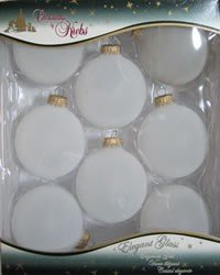Krebs Frosted Glass Ball Ornaments with Gold Caps (8 Per Box, 2-5/8 Inches)