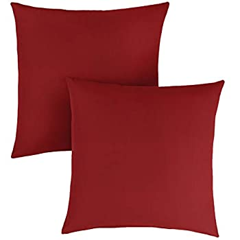 Image of Home and Kitchen 1101Design Sunbrella Canvas Jockey Red Knife Edge Decorative Indoor/Outdoor Square Throw Pillow, Perfect for Patio Decor - Jockey Red 24' (Set of 2)