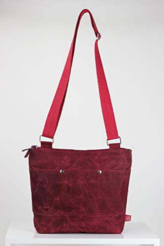 Maroon waxed unisex messenger tote bag handmade pocket on front full lining waterproof carry all bag gift idea different color available