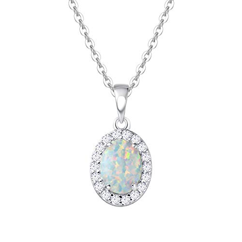 - FANCIME 925 Sterling Silver Oval Necklace White Created Opal Pendant Delicate Cubic Zirconia Jewelry for Women Girls