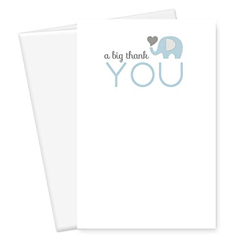 Elephant Thank You Card Boys Baby Shower Blue Stationery Set of 25 -