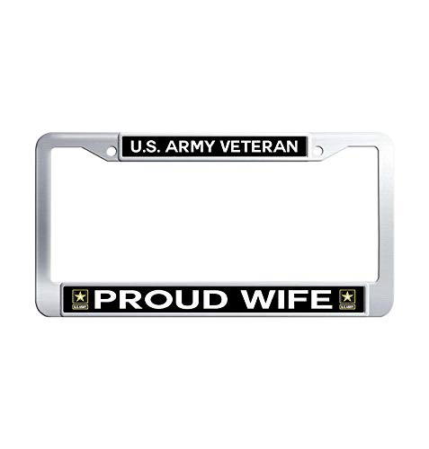 Hensonata US Army Veteran Proud Wife Stainless Steel License Frame car, Funny Waterproof Metal Car Tag Frame with Screw Caps for US Vehicles