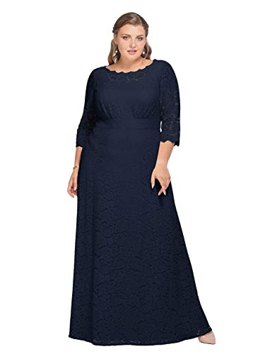 Alicepub Lace Wedding Dress Plus Size Long Formal Dresses Evening Gowns for Mother of The Bride, Dark Navy, US18