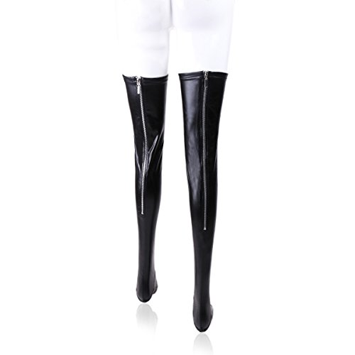 Women's Zipper Back Sexy Stockings, Wet Look Thigh Length Lingerie Lycra Socks by SUPEREX (Black) (Back Spandex)