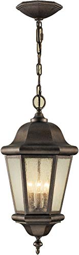 Medium Pendant Lighting Outdoor (Feiss OL5911CB Martinsville Outdoor Lighting Pendant Lantern, Bronze, 3-Light (10