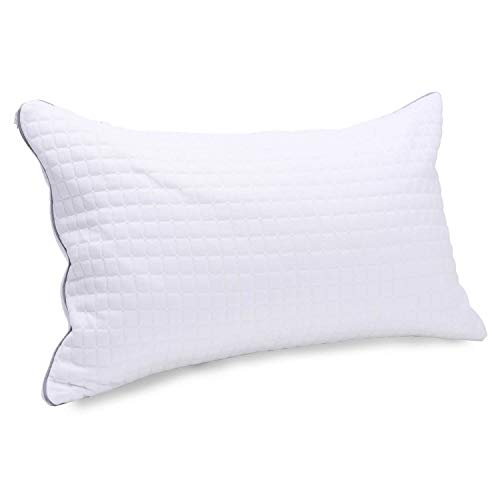 Kingnex Shredded Latex Pillow - with Removable Tencel Cooling Cover - Adjustable Loft - Bed Pillow for Sleeping - Queen ()