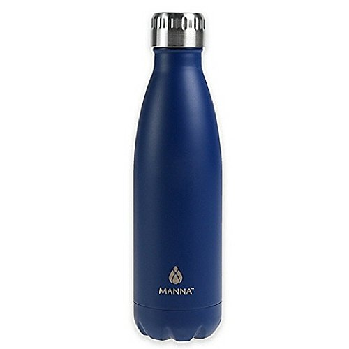Manna Vogue Double Wall Insulated Stainless Steel Water Bottle, 17 oz. (Matte Blue)