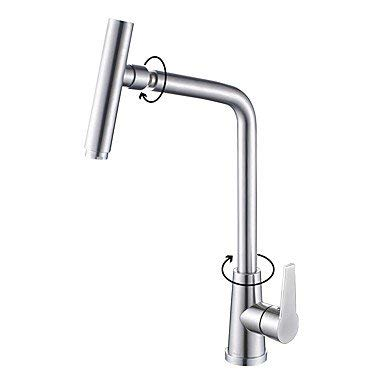 Stainless Steel Deck Mount 107 - Wghz Contemporary Deck Mount Stainless Steel Nickel Brushed Rotatable Spout with Ceramic Valve Single Handle One Hole Kitchen Faucet