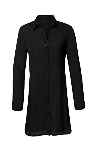 Col Taille Chemise Robe Chic Longue Casual Manches Chemise Noir Grande Lache Femme Longue Mousseline Tunique Fluide v qptx1p6AwU
