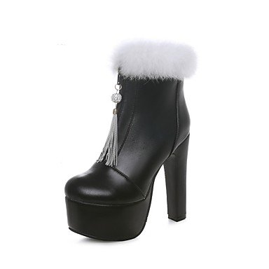 RTRY US6 Winter Leatherette Beige EU36 Fashion Round Casual CN36 Black Ankle Chunky White Boots UK4 Booties Women'S Dress Toe Shoes Boots Heel For Boots rpTxrnRw