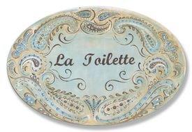 La Toilette Wall Plaque - La Toilette Blue Brown Paisley Oval Wall Plaque Sign