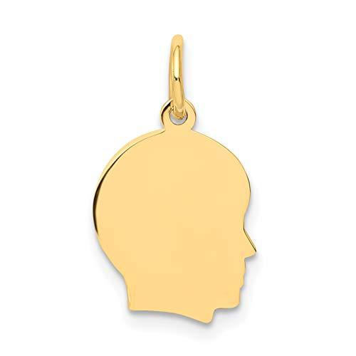 - Mireval 14k Yellow Gold Plain Small .035 Gauge Facing Right Engravable Boy Head Charm (10 x 18 mm)
