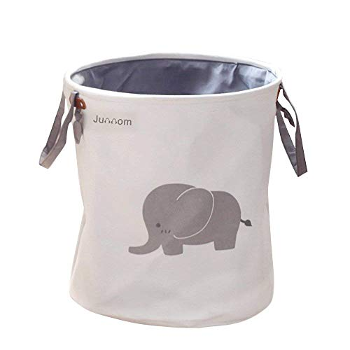 Storage Baskets, Junnom Collapsible & Convenient Laundry Bin/Laundry Basket/Laundry Hamper/Storage Solution for Office, Bedroom, Clothes, Toys - Super Cute Gray Elephant