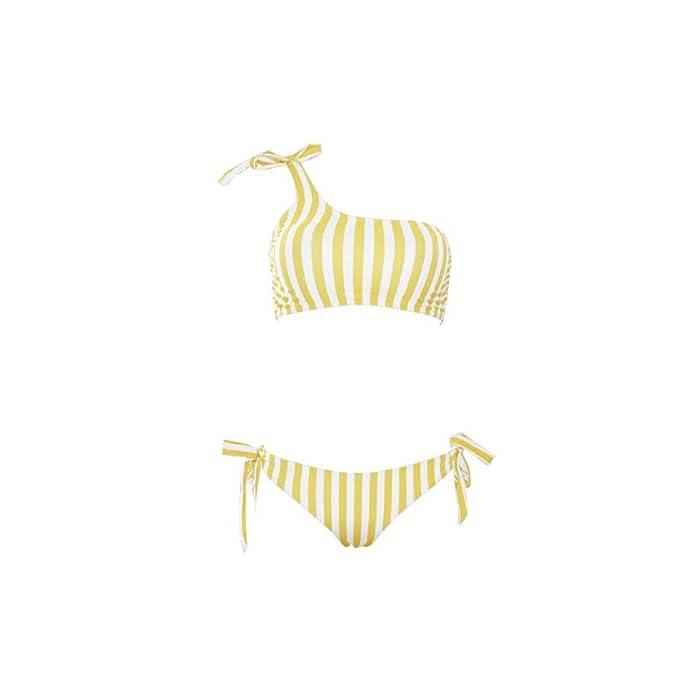 31EUQtHldQL Top: este traje de baño de dos piezas está diseñado con una parte superior de bikini de un hombro a rayas azul y blanco. Sumergir el sujetador de bikini con push up muestra tu curva, el diseño de espalda baja te hace aún más sexy. Parte inferior: pajarita única en ambos lados de la parte inferior de bikini triangular, el diseño de pierna alta bombea tus caderas y hace que tu pierna se vea más larga. Material elástico de alta calidad con la correa ajustable, hace que el bikini se ajuste a tu cuerpo fácilmente.