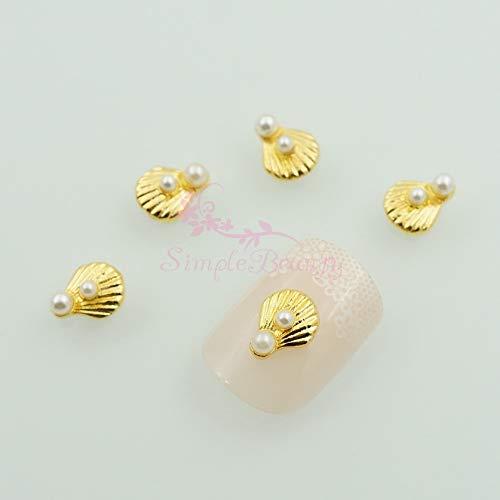 Kamas 100pcs/lot 8X7MM White Fuax Pearl Decor Gold Plated Shell Shape 3D Salon Acrylic Nail Art Charms Manicure Jewelry Handcrafts DIY ()