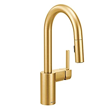 Image of Moen 5965BG Align One-Handle Pulldown Bar Faucet with Power Clean featuring Reflex, Brushed Gold Home Improvements
