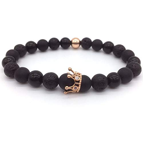 Trendy Lava Stone Pave CZ Imperial Crown Helmet Charm Bracelet For Men Or Women Bracelet Jewelry 11