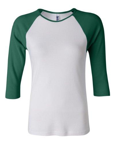 Bella Baby Rib 3/4 Sleeve Contrast Raglan Baseball T-Shirt. 2000 - X-Large - White / Kelly