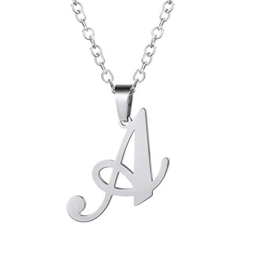 PROSTEEL Stainless Steel Letter A Necklace Alphabet Monogram Jewelry Men Women Boy Girl Friendship Bridesmaid Gift Minimalist Initial Name Pendant Chain