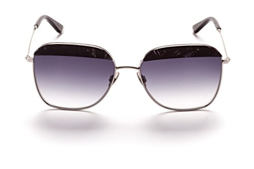 Sunday Somewhere Vito Sunglasses Black Glitter / Polished Silver metal with Gradient Grey - Somewhere Sunglasses Sunday