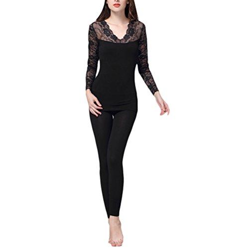 Zhhlinyuan Fashion V-collar Slim Warm Underwear Womens Home Soft Nightwear Bodysuit Set Black