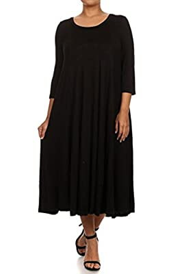 Modern Kiwi Women's Plus Size Long Sleeve Flowy Maxi Dress