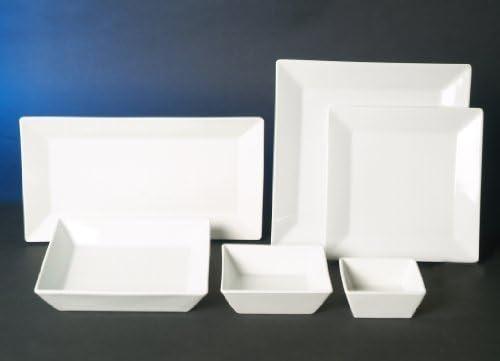 Quadrat Weiss 30 teilig Kombi Service 6 Personen Geschirr Set Eckig Neu Design