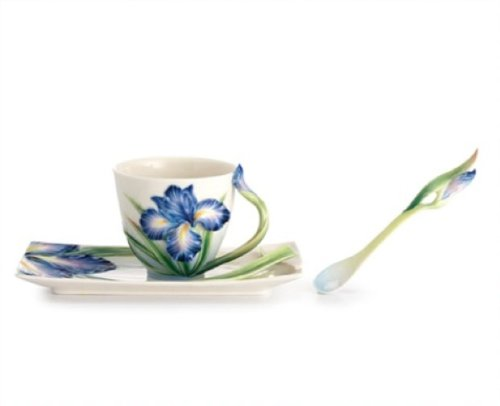 - Franz Porcelain Eloquent Iris Flower Design Sculptured Porcelain Cup/Saucer Set with Spoon