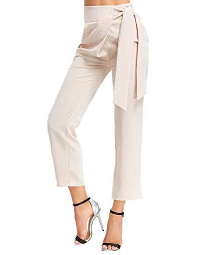 Bianca Pantaloni S Dimensione Piedini Bianca Donna Alta Eleganti Vita FuweiEncore Colore 40xn7z0