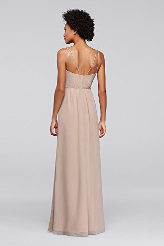 Dress Coral Beaded F19281 Style Beaded Style Long Bridesmaid Straps Dress Long Reef Straps Bridesmaid qgwAR6