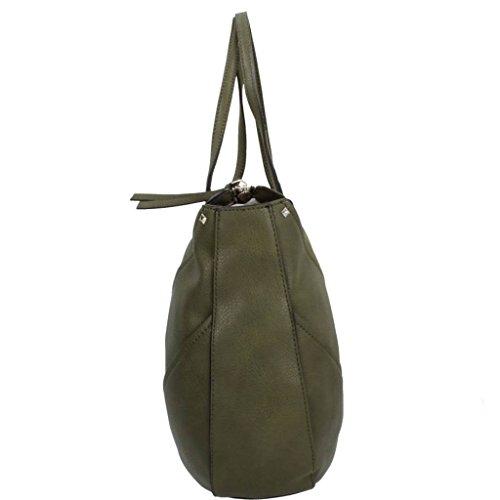 Femme Taille Satchel Green à Unique Sacs Solene Guess Large Main xg6vnCfYqw