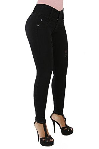 Curvify 765 Premium Women's Enhanced Butt Liftting Skinny Jeans (765-BlackD3-11)