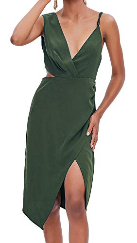 TOP-MAX Women's Dresses - Summer Elegant Spaghetti Straps V Neck Sleeveless Cocktail Club Party Casual Midi Dress - Cut Out Prom Dresses