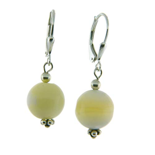 - Sterling Silver 12mm Gemstone Bead Lever Back Bottom Dot Flower Earrings, Mother of Pearl