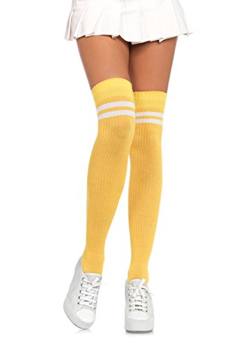 Leg Avenue Women's Hosiery, Yellow/White, O/S (Red And Yellow Striped Knee High Socks)