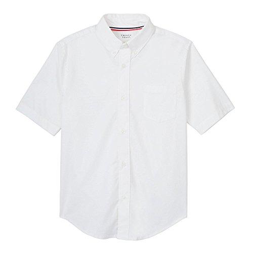 French Toast Boys' Little Short Sleeve Oxford Dress Shirt (Standard & Husky), White Stretch, 7