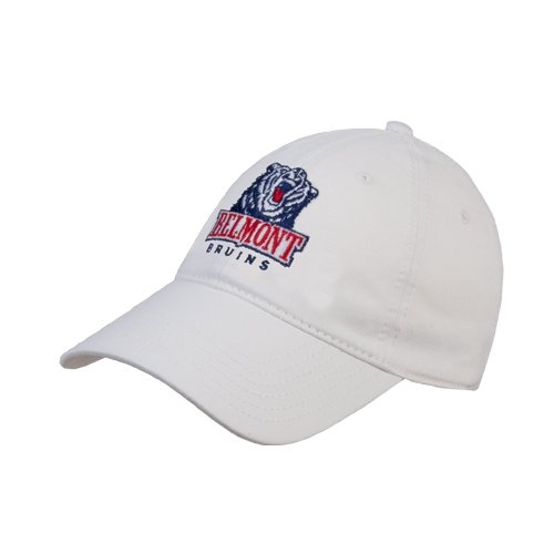 CollegeFanGear Belmont White Twill Unstructured Low Profile Hat 'Belmont Bruins'
