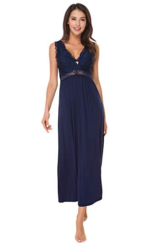 Womens Sleepwear Lace Lingerie Chemises V Neck Nightgown Long Sexy Sleep Dress Sleeveless Lace for Women Elegant (Navy Blue, XXL)