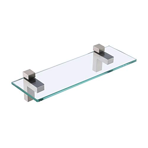 KES Bathroom Shelf, Tempered Glass Shelf 14 Inch 8MM-Thick Wall Mount Rectangular, Brushed Nickel Bracket, BGS3201S35-2
