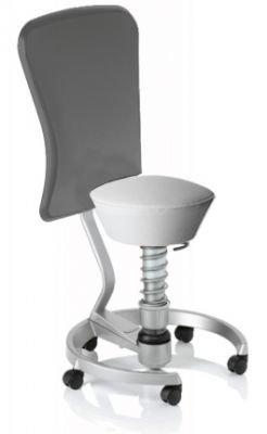 Aeris Swopper Classic - Bezug: Care / Weiß | Polsterung: Standard | Fußring: Titan | Spezial-Rollen für Teppichböden | mit Lehne und grauem Microfaser-Lehnenbezug | Körpergewicht: MEDIUM