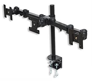 MonMount Triple Monitor Articulating Desk Mount Supports Up to 20-Inch Screens, Black (LCD-1930B)