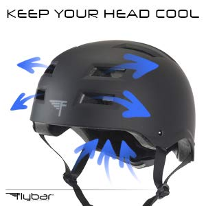 Flybar Youth Child Multi-Sport Helmets with Adjustable Dial - Dual Safety Certified CPSC & EN1078 for Skateboarding, Biking, BMX - S, M, L & Multiple Colors Available