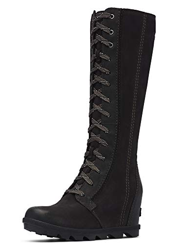 Combat Boots With Knee High Socks (Sorel - Women's Joan of Arctic Wedge II Tall Boot, Black, 8 M)