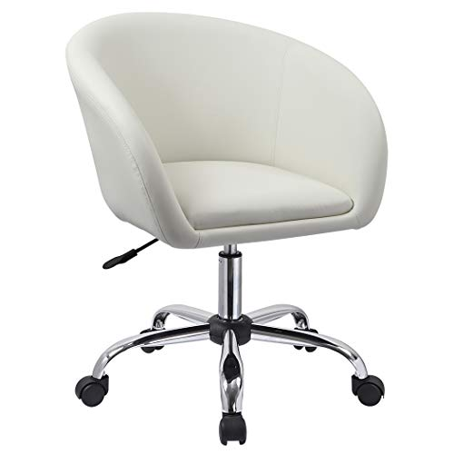 Duhome Luxury PU Leather Contemporary Salon Stool with Wheels Home Office Chair Round Swivel Accent Chair Tufted Adjustable Lounge Pub Bar (White) - Desk Swivel Chair White