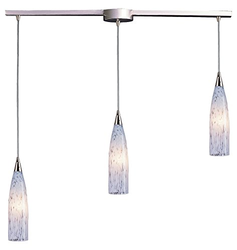 Lungo Three Pendant Light - Lungo 3 Light Pendant in Satin Nickel and Snow White Glass