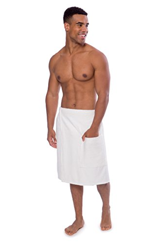 Texere Men's Terry Cloth Spa Wrap (Forestcalm, Natural White, L/XL) Fathers Day Presents